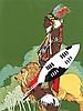 John L. Doyle, (Wisconsin, 1939-2010), Shaka the Zulu, from The Great Human Race, Black, John Lawrence Doyle, Click for value