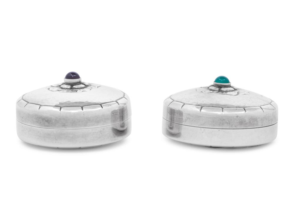 A Pair of Georg Jensen Silver and Hardstone Cabochon-Inset Pill Boxes