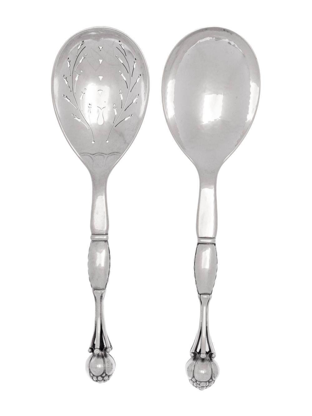 Two Georg Jensen Ornamental Silver Serving Spoons