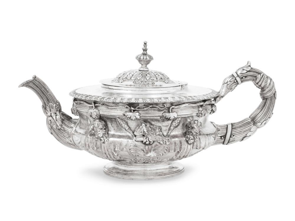 A George III Silver Warwick Vase Teapot