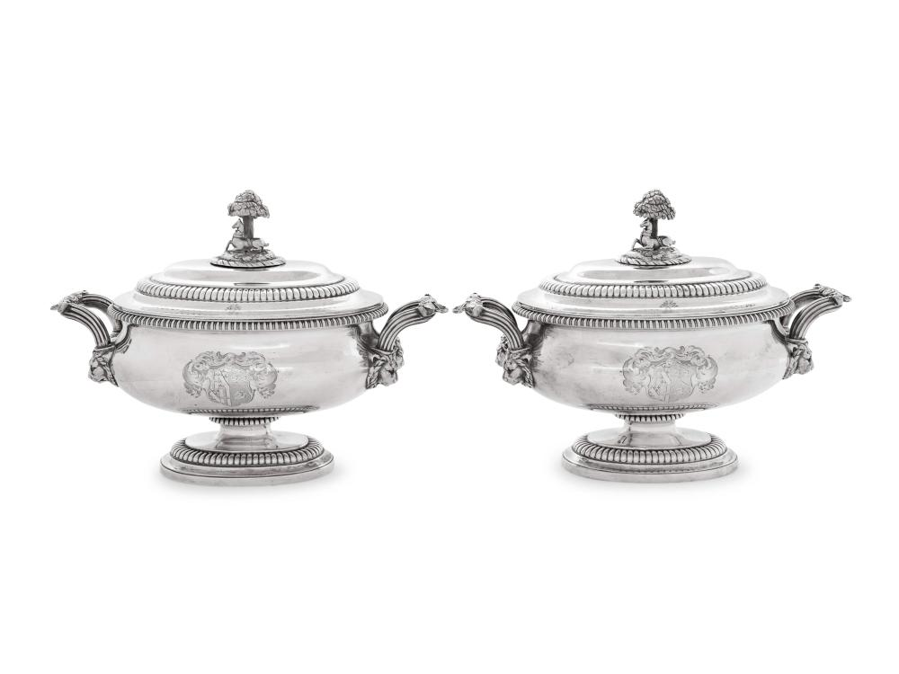 A Pair of Paul Storr George III Silver Covered Sauce Tureens