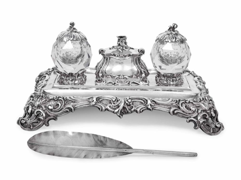 A Victorian Silver and Cut Glass Mounted Standish