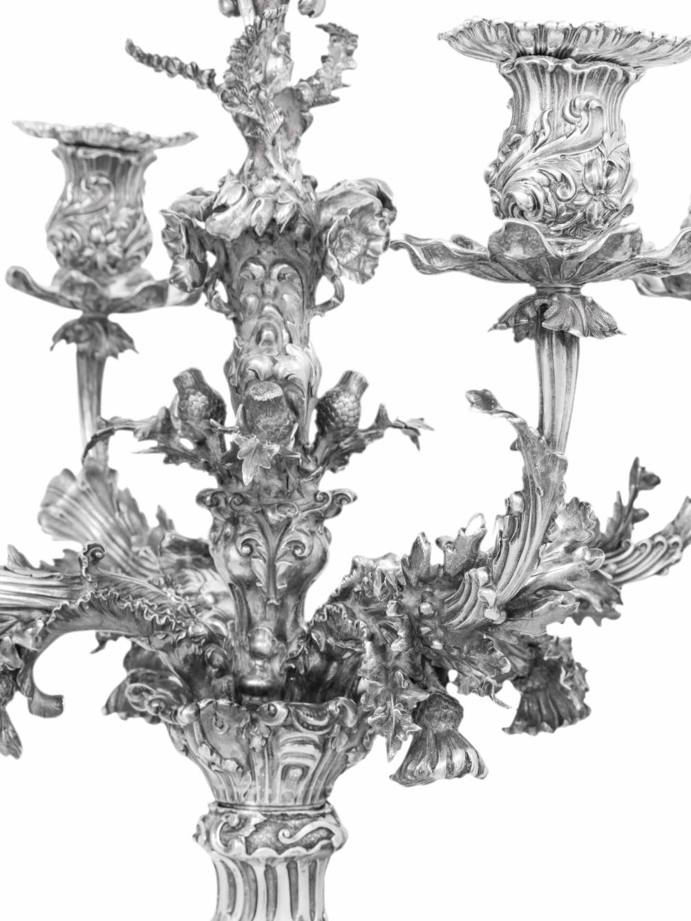 A Monumental Pair of Victorian Silver Four Light Candelabra