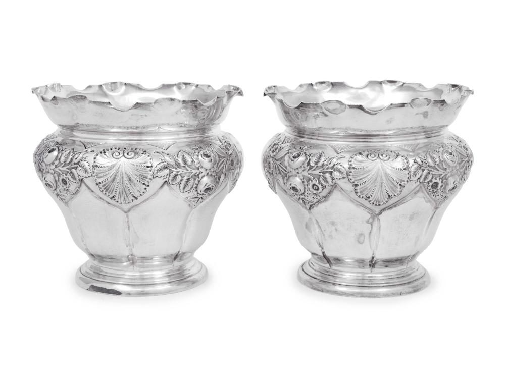 A Pair of Edwardian Silver Jardinieres