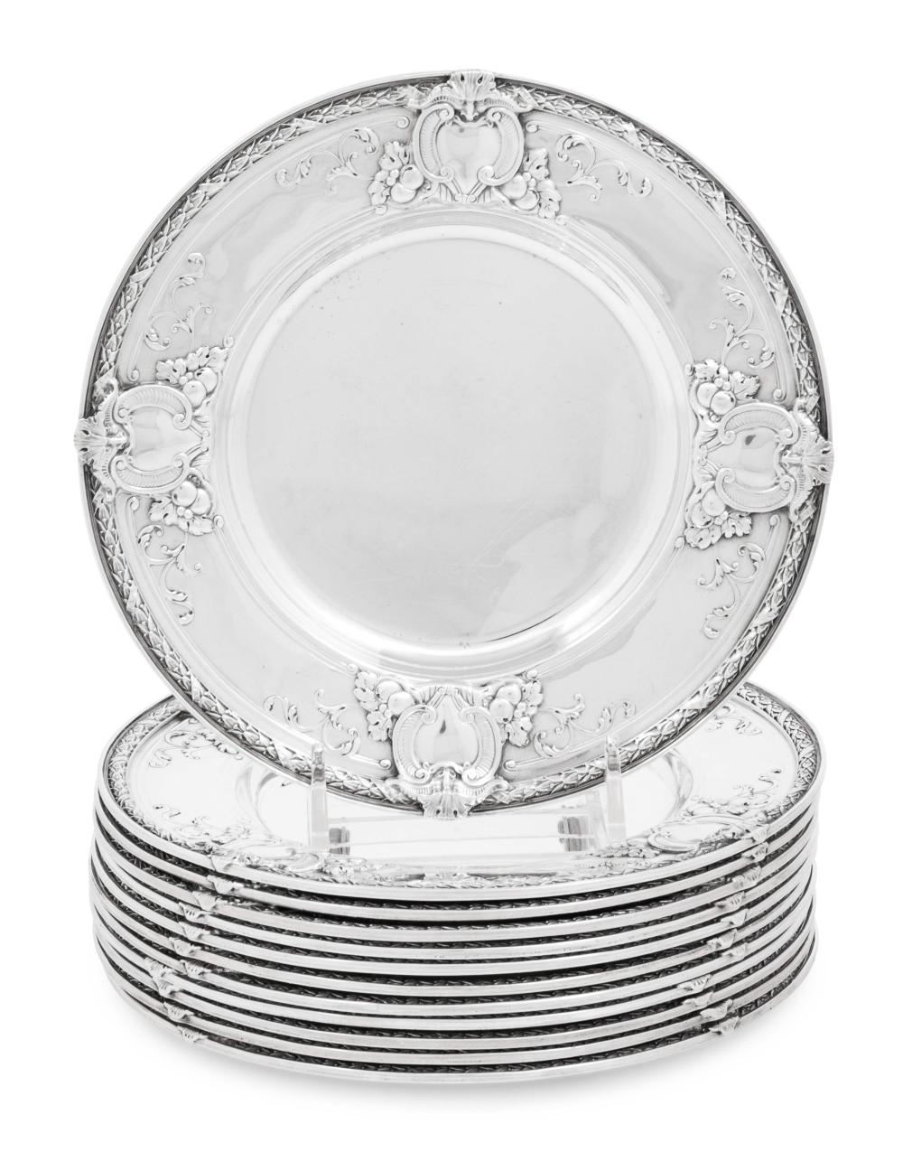 A Set of Twelve American Silver Bread Plates