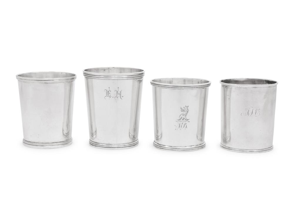 Four American Coin Silver Beakers