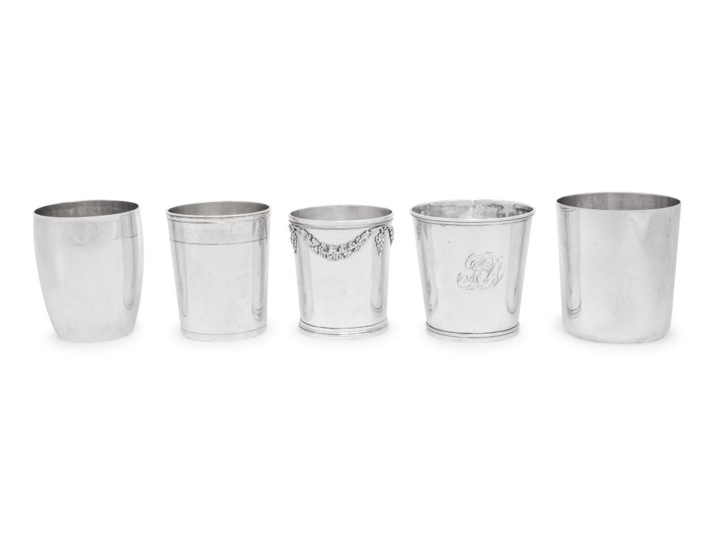 Five Continental Silver Beakers