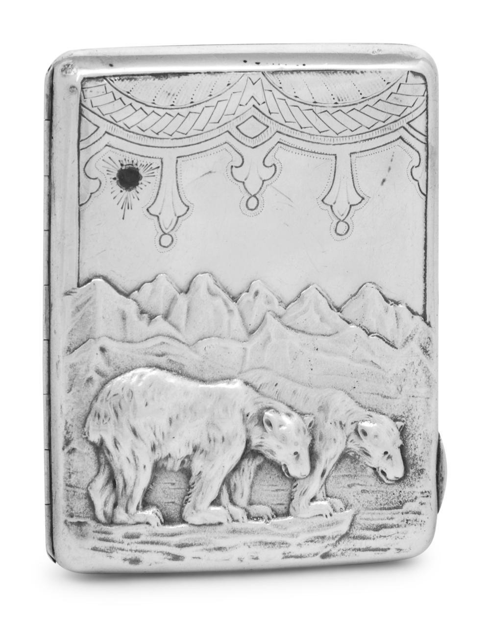 A Russian Silver and Emerald-Inset Cigarette Case