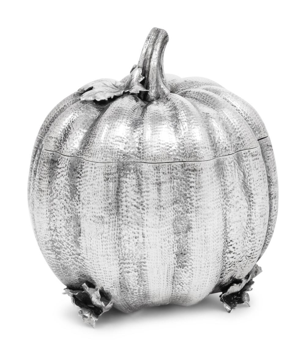 A Buccellati Silver Pumpkin Form Covered Jar