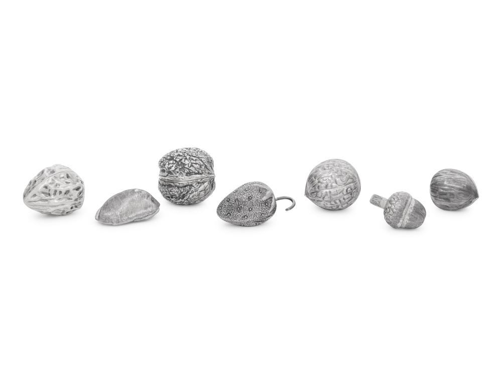 Seven Mexican Silver Bonbonnieres