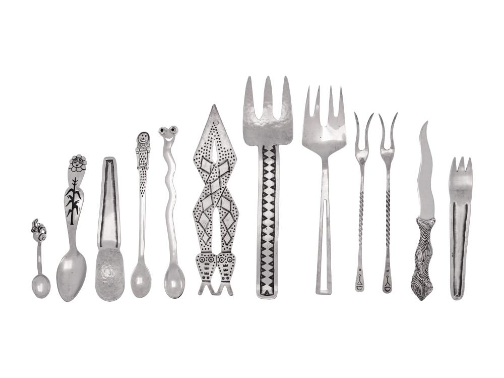 A Collection of Mexican and American Southwestern Silver Flatware Articles