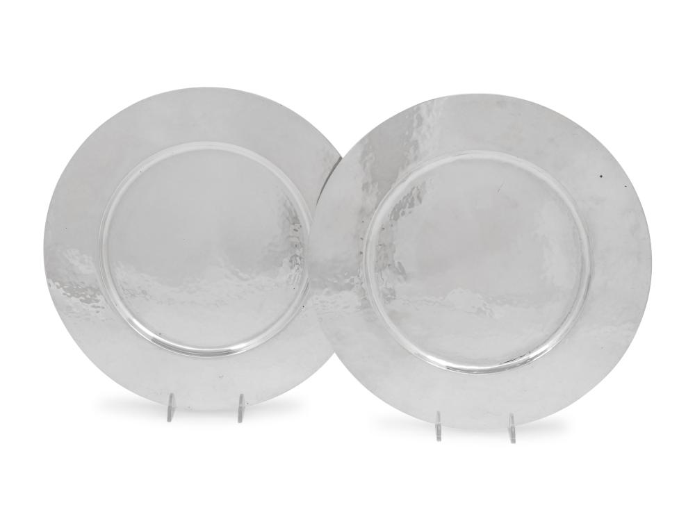 A Pair of Porter Blanchard Silver Chargers