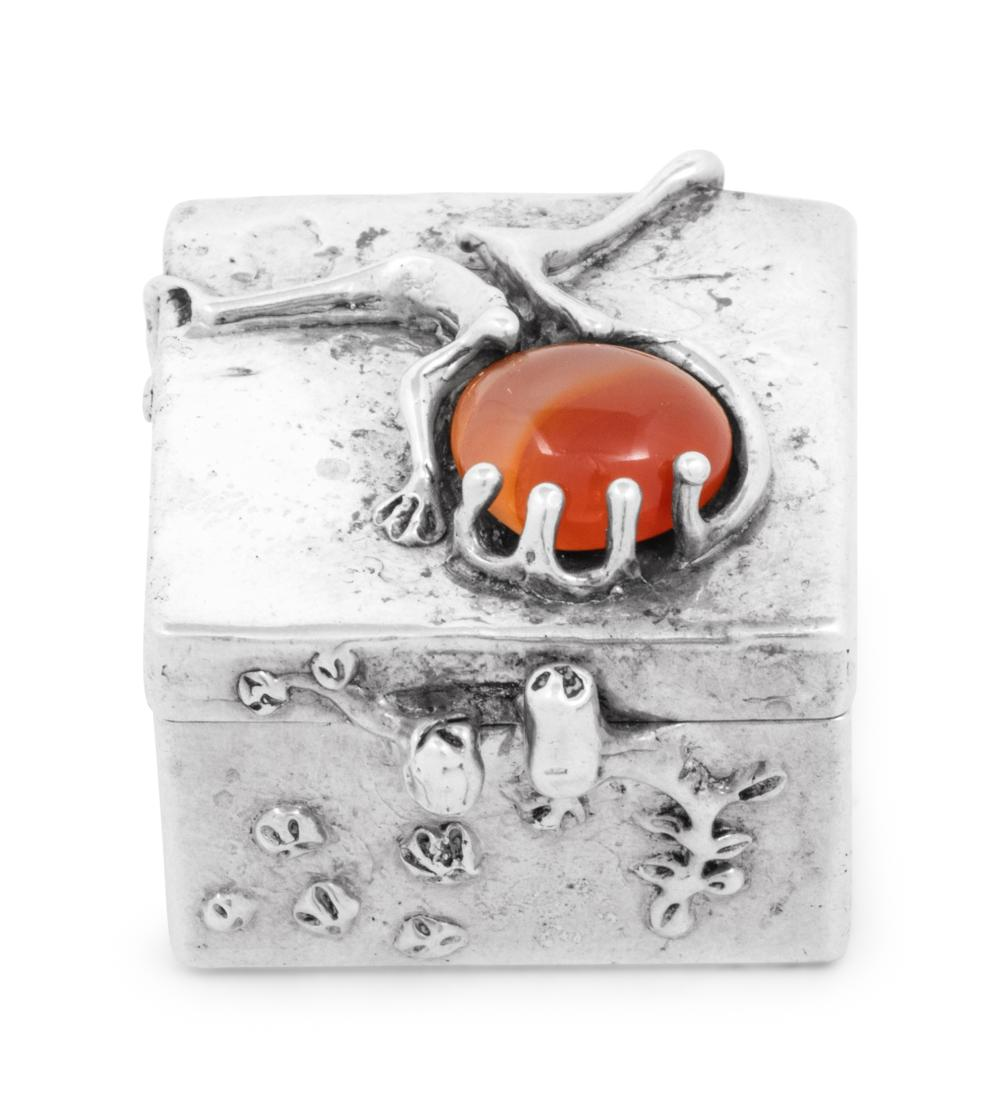 A Modernist Silver and Carnelian Mounted Pill Box