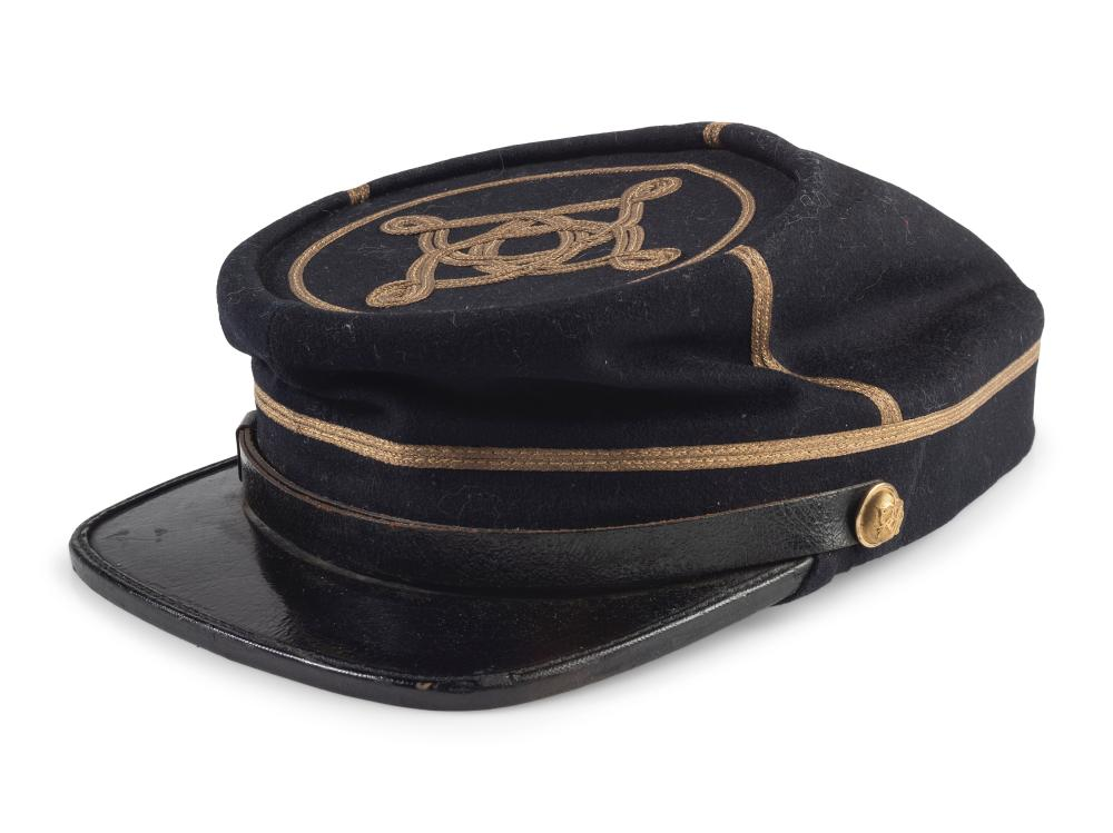 Private Jacob H. Perine, Company E, 4th Michigan Infantry, WIA twice at Gettysburg. A collection of items, incl. GAR dress cap, ribbons, and buttons.