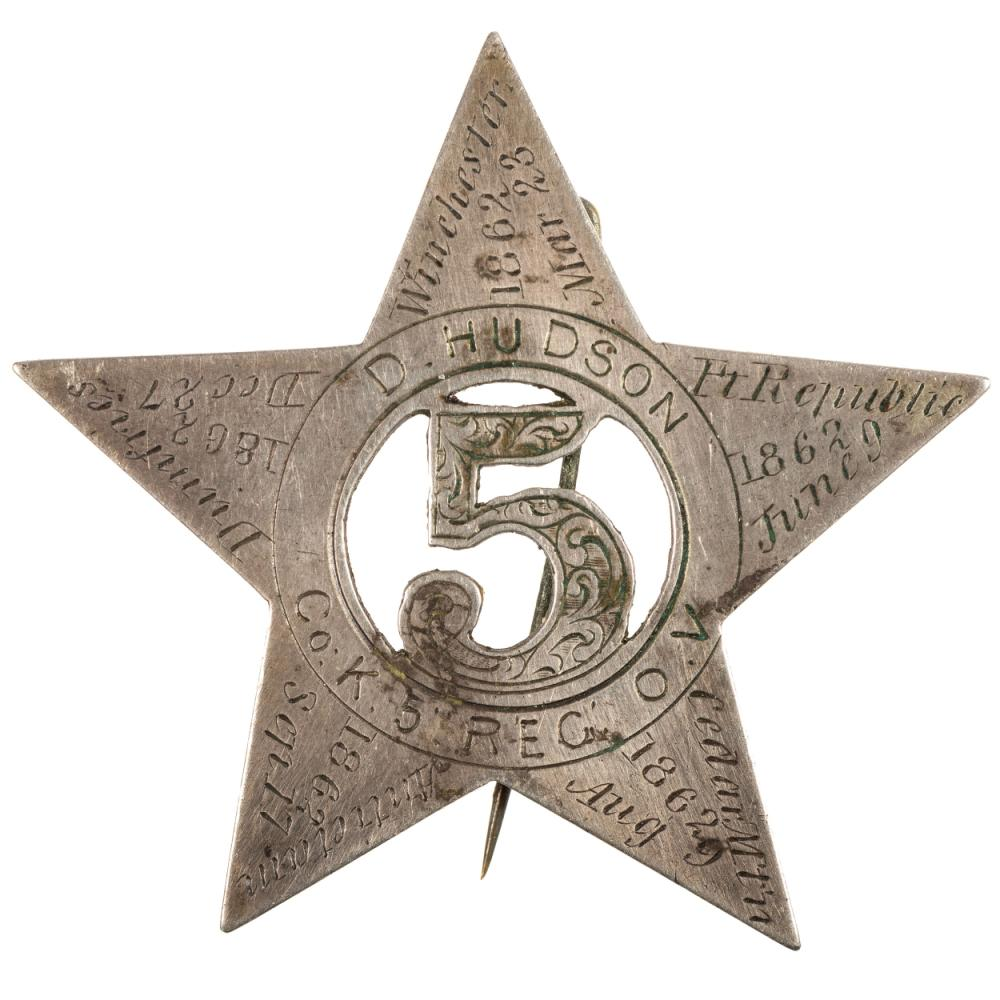 Private Daniel Hudson, Company K, 5th Ohio Volunteers, silver corps badge engraved with battle honors, incl. Winchester, Port Republic, Cedar Mountain, Antietam, Dumfries, and Chancellorsville.