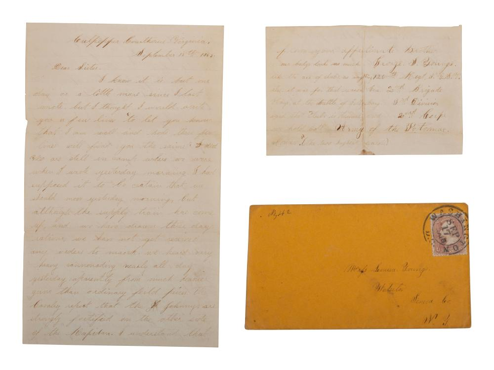 """Private George S. Young, Company G, 126th New York State Volunteers. Autographed letter requesting a new corps badge. """"Culpepper Courthouse,"""" VA, 15 September 1863."""