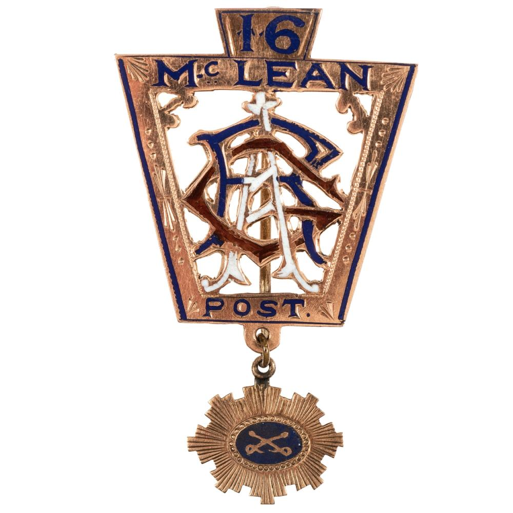 Gold Sheridan's Corps badge presented by GAR post to Captain F. Dougherty, 1st Regiment Pennsylvania Volunteers and 2nd Regiment Pennsylvania Cavalry.