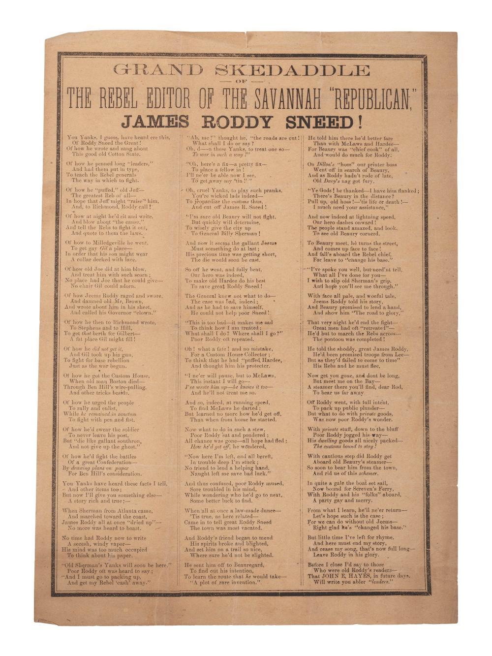 """Grand Skedaddle of the Rebel Editor of the Savannah """"Republican,"""" James Roddy Sneed! N.p.: n.p., [ca 1864-1865]."""