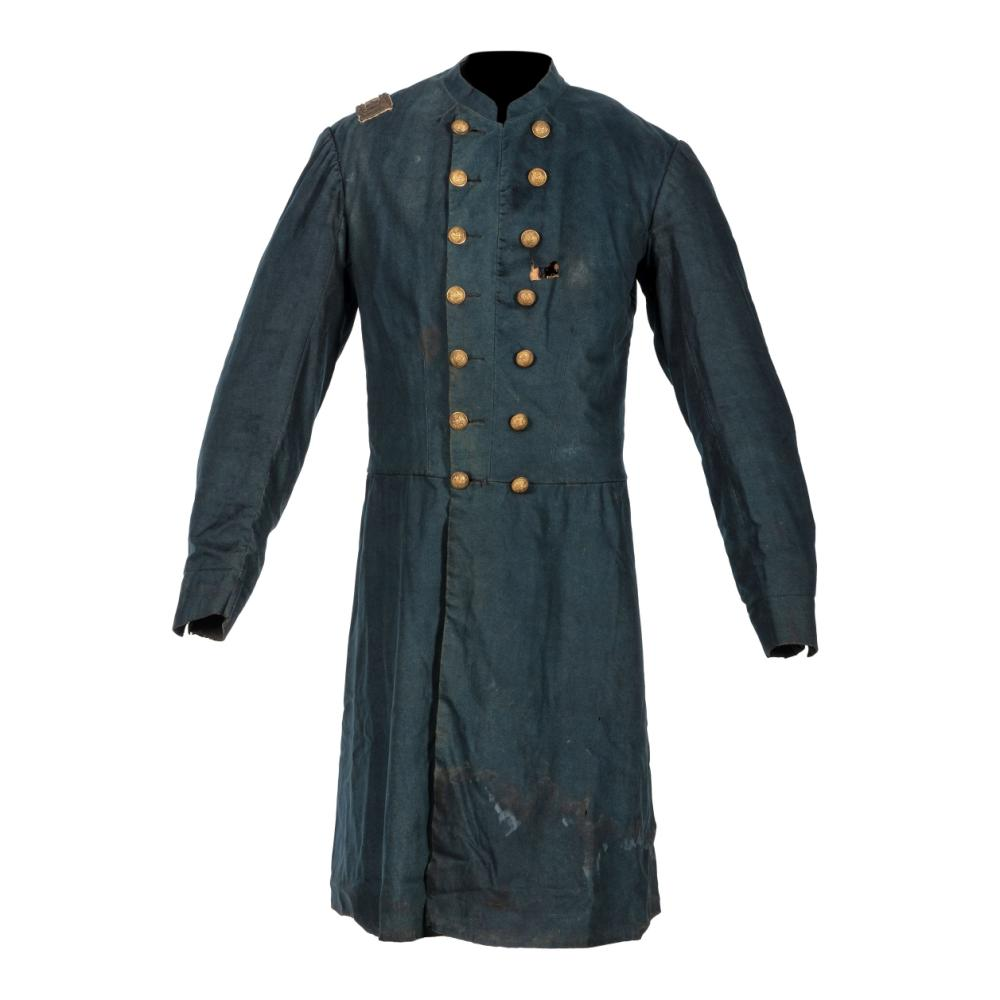 """A collection of items identified to Lieutenant Colonel Jonathan Biggs, 123rd Illinois Infantry, """"Wilder's Brigade,"""" highlighted by bullet-struck frock coat and vest worn during the assault on Selma, Alabama. 2 April 1865."""