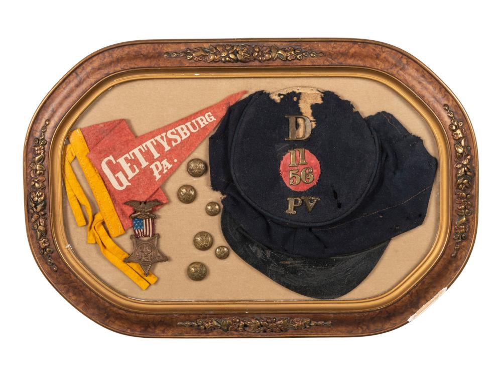 Model 1858 forage cap identified to Private James Strauser, Company D, 56th Pennsylvania Volunteer Infantry, WIA Gettysburg.