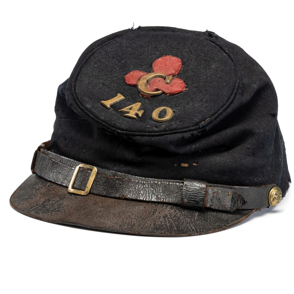 140th Pennsylvania Infantry II Corps enlisted man's forage cap identified to Philip A. Cooper, Company C.