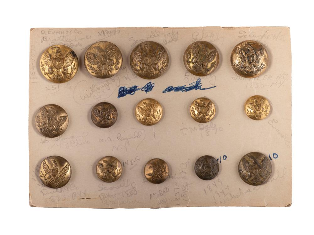 A group of 15 Civil War and post-Civil War buttons, comprising: