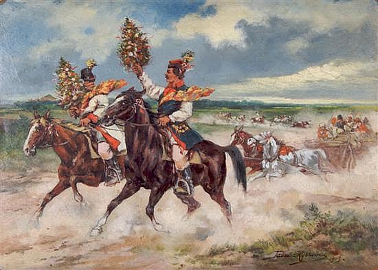 Tadeusz Rybkowski, (Polish, 1848-1926), Untitled (Horsemen with Flowers)