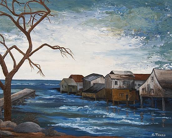Ernst Thoms, (German, 1896-1983), Fishing Village