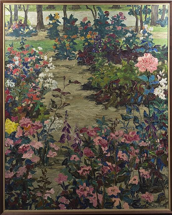 * Fay Peck, (20th century), Landscape with Flowers