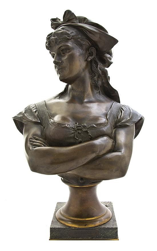 A Belgian Bronze Bust, Leopold Harze (1831-1893), Height 24 inches.