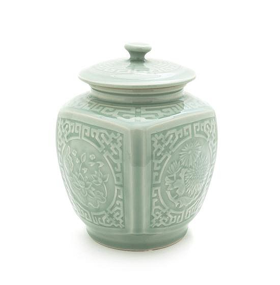 * A Chinese Porcelain Lidded Jar, Height 8 inches.