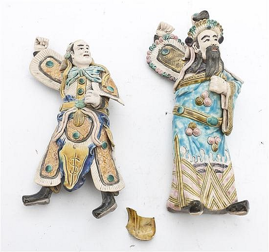 * A Pair of Chinese Pottery Figures, Height of tallest 10 inches.
