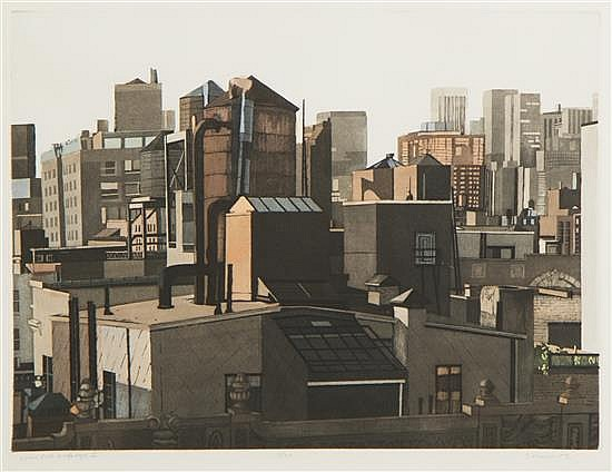 Sidney Hurwitz, (American, b. 1932), Roofscape New York II, 1985