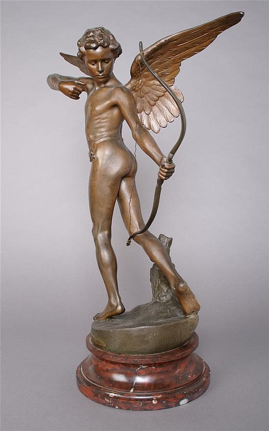 An Italian Cast Metal Figure, after Richard Aurili, (Italian 1834-1914), Height of figure 21 inches.