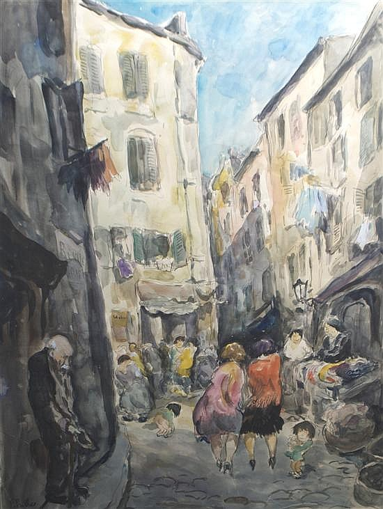 *Fred Pailhes, (French, 1907-1991), Street Scene