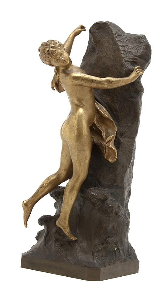 *A French Gilt and Patinated Bronze Figure, Louis Gossin (1846-1928), Height 16 inches.