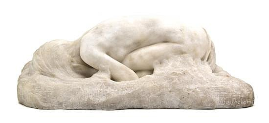 *A French Marble Sculpture, Paul Albert Bartholome (1848-1928), Width 17 inches.