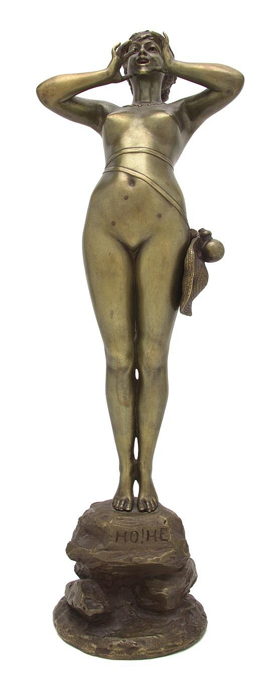 A French Gilt Bronze Figure, Alfred Grevin (1827-1892), Height 20 inches.
