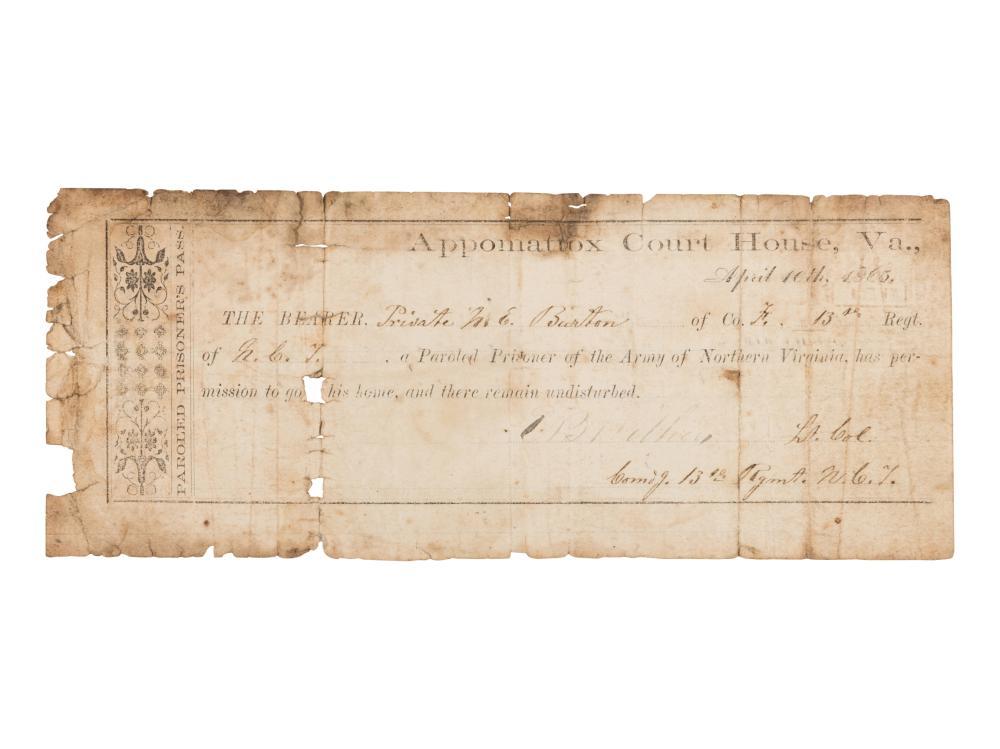 [CONFEDERATE ARMY]. Appomattox Parole for Private N[oel] E. Burton, Company F, 13th Regiment, North Carolina Infantry.