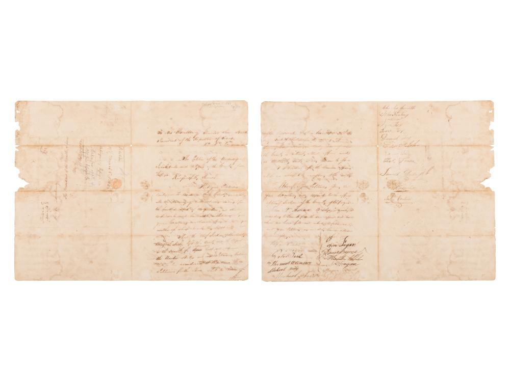 [HOUSTON, Sam]. Autograph document signed by 23 citizens, to Sam Houston. Refugio, 8 March 1843.