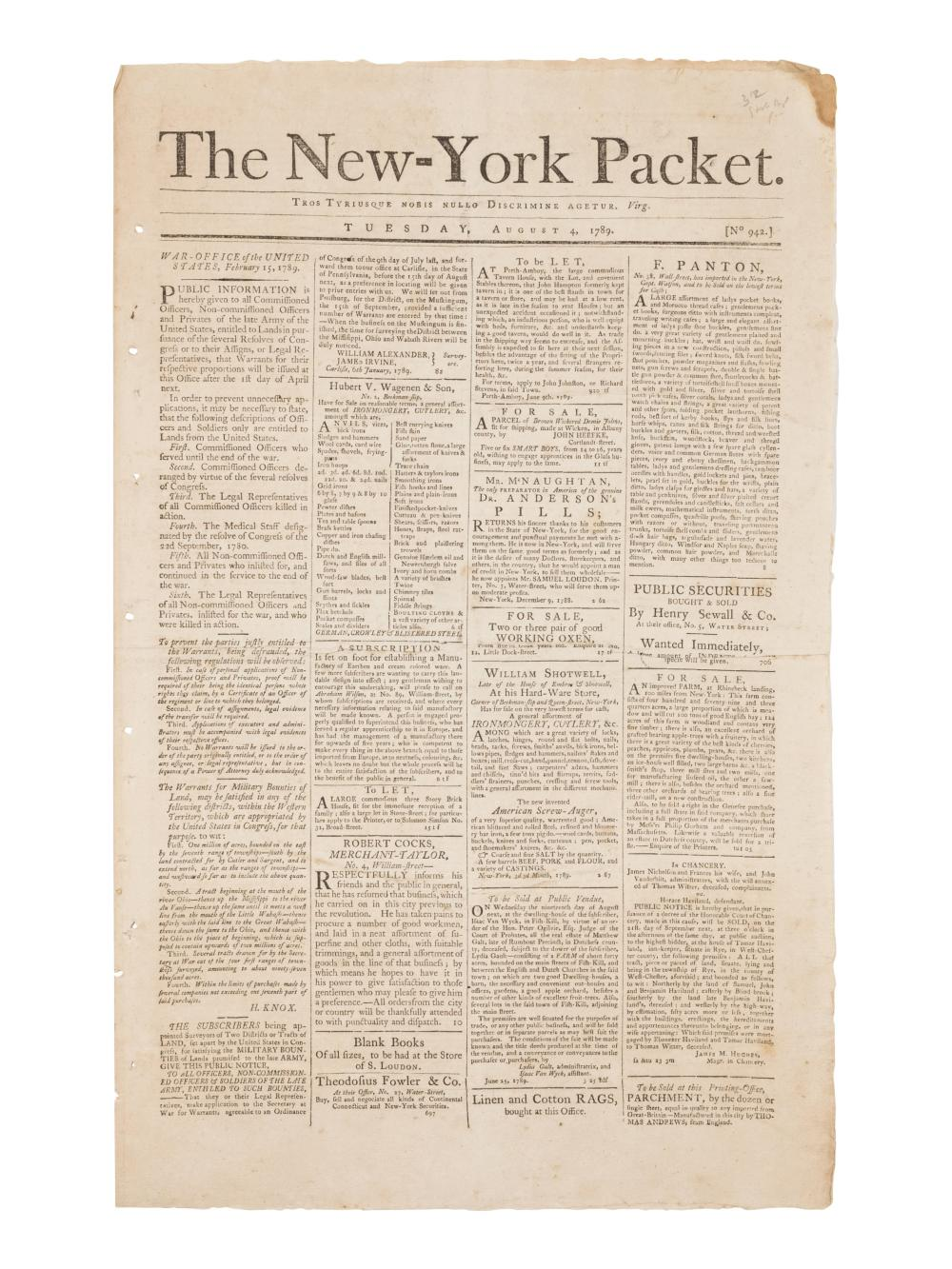 [NEWSPAPER - DEPARTMENT OF STATE]. The New York Packet. No. 942, Tuesday, August 4, 1789. New York: Samuel & John Loudon, 1789.