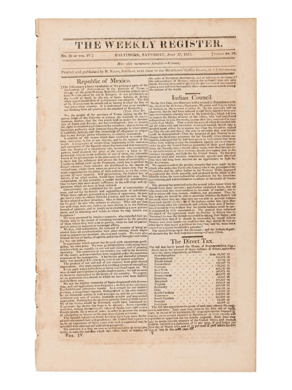 [NEWSPAPER - TEXAS NEWS - THE ALAMO]. Niles Weekly Register. Vol. 49 (September 5, 1835-February 27, 1836); [with] Vol. 51 (September 3, 1836-February 25, 1837); [and] Vol. 52 (March 4, 1837-August 26, 1837). Baltimore, 1835-1837.