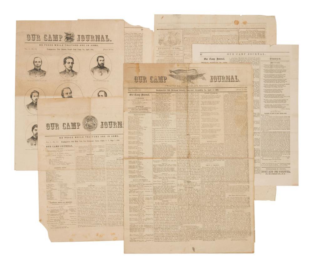 [NEWSPAPER]. Our Camp Journal. Vol 1, Nos. 1 (April 1, 1863), 3 (September 7, 1863); 5 (January 15, 1864), and 6 (April, 1864). Various places.