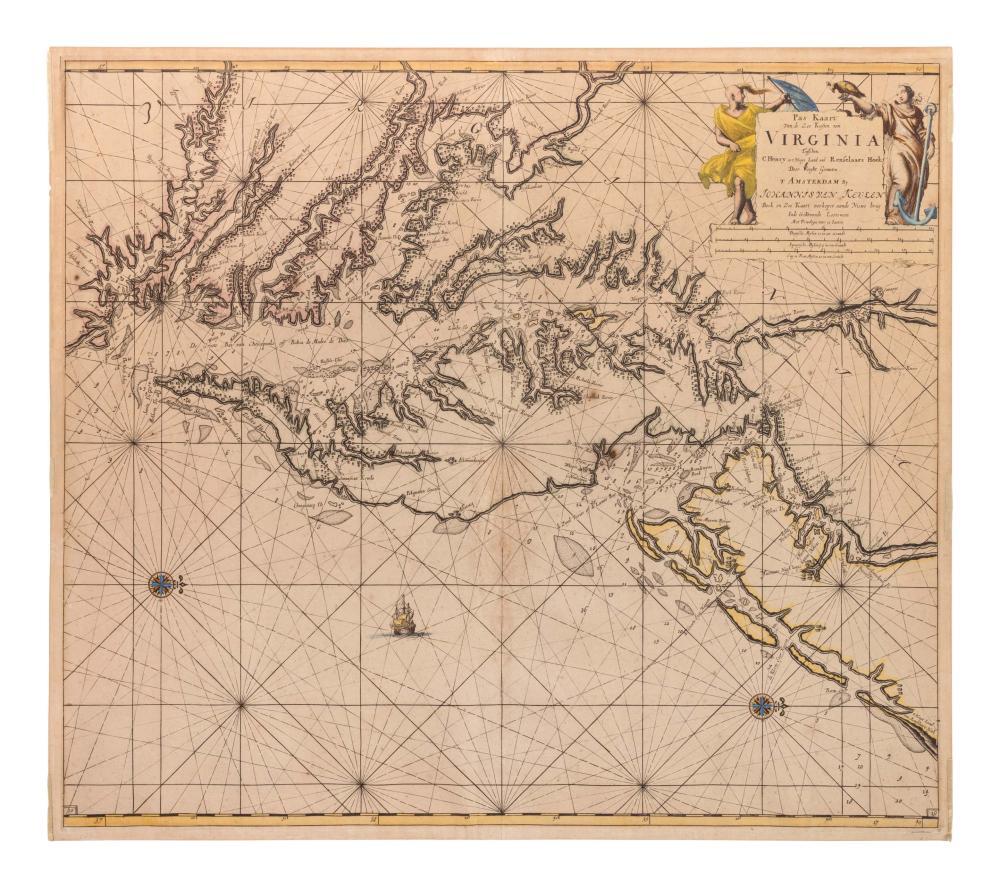 KEULEN, Johannes van (1654-1715). pas Kaart Van de Zee Kusten van Virginia Tusschen. Amsterdam, ca 1695.