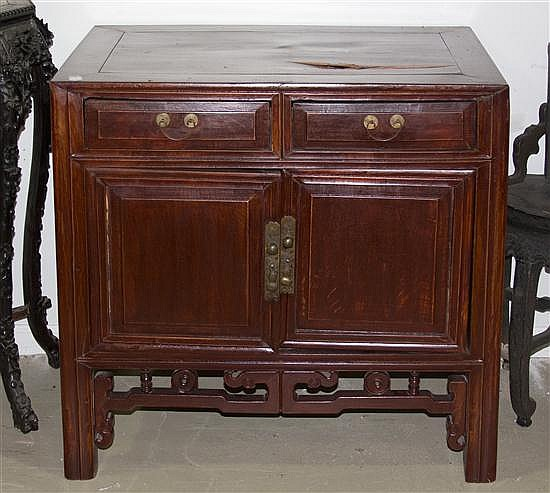 A Chinese Hardwood Cabinet, Height 37 x width 34 1/2 x depth 18 inches.
