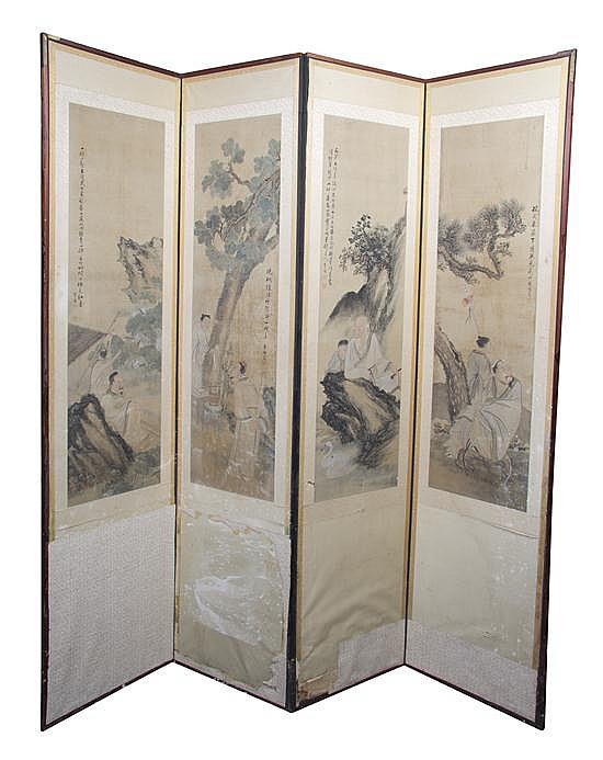 A Chinese Four-Panel Floor Screen, Height of each panel 76 x width 17 3/4 inches.