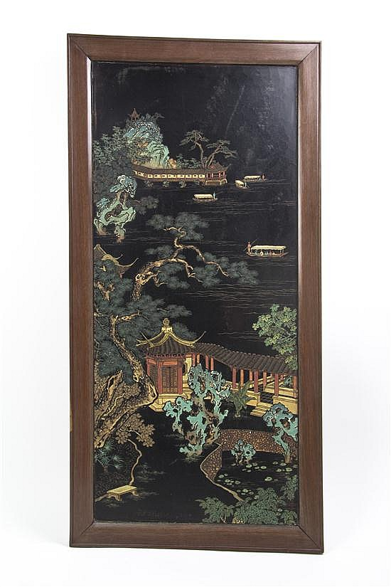 A Chinese Lacquered Panel, Height of panel 36 1/4 x width 16 inches.