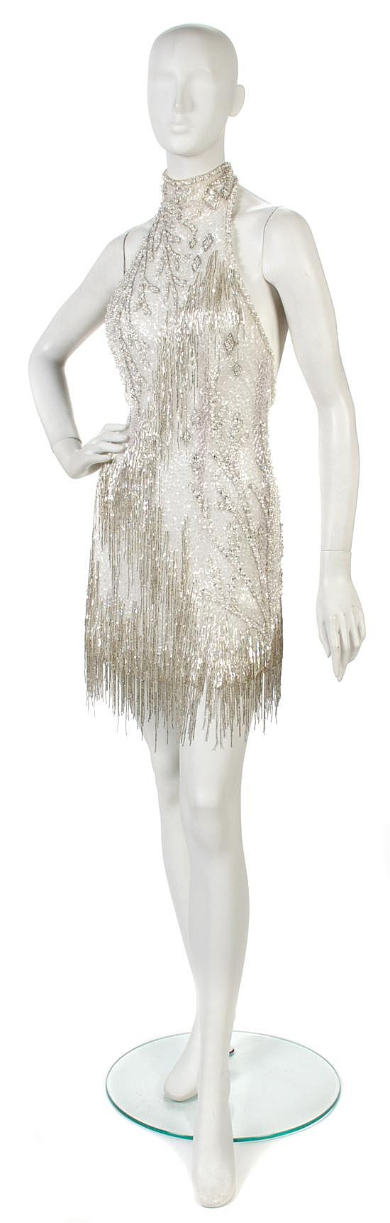 A Bob Mackie Cream Beaded, Pearl and Rhinestone Flapper Style Dress,