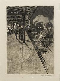 * Charles Frederick William MieLatz, (American, 1864-1919), Elevated Railway Station at Night