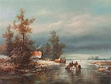 * Ludwig Muninger, (German, 1929-1997), Winter Lake Scene with Villagers